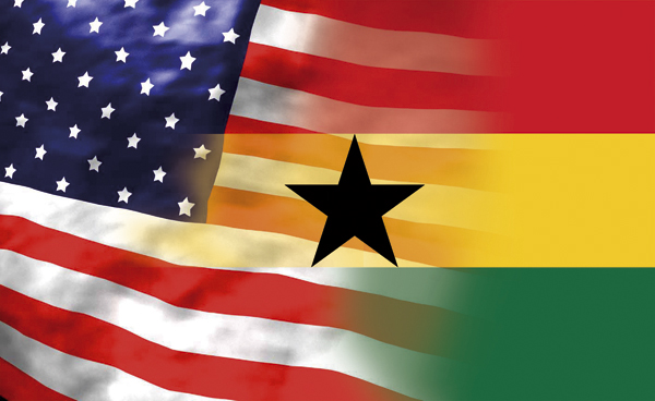The flag of the US and Ghana
