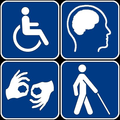 Pictogram with images depicting disabilites. Wheelchair, Brain injuries, Deaf and hard of hearing, and blind or limited sight